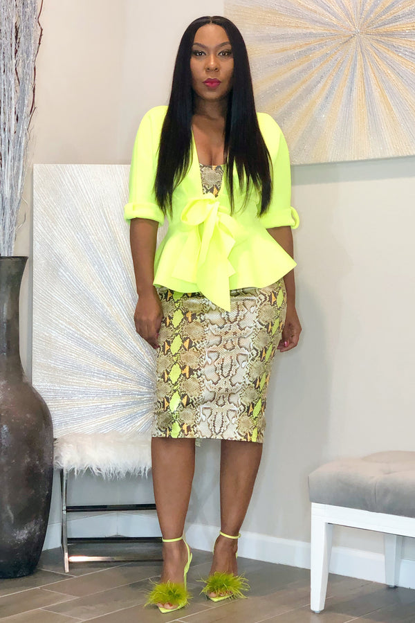 Barbaralyn Peplum Jacket- Neon Yellow
