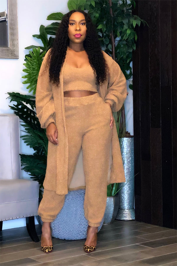 Seante Three Piece Popcorn Knit Duster and Pants Set-Camel
