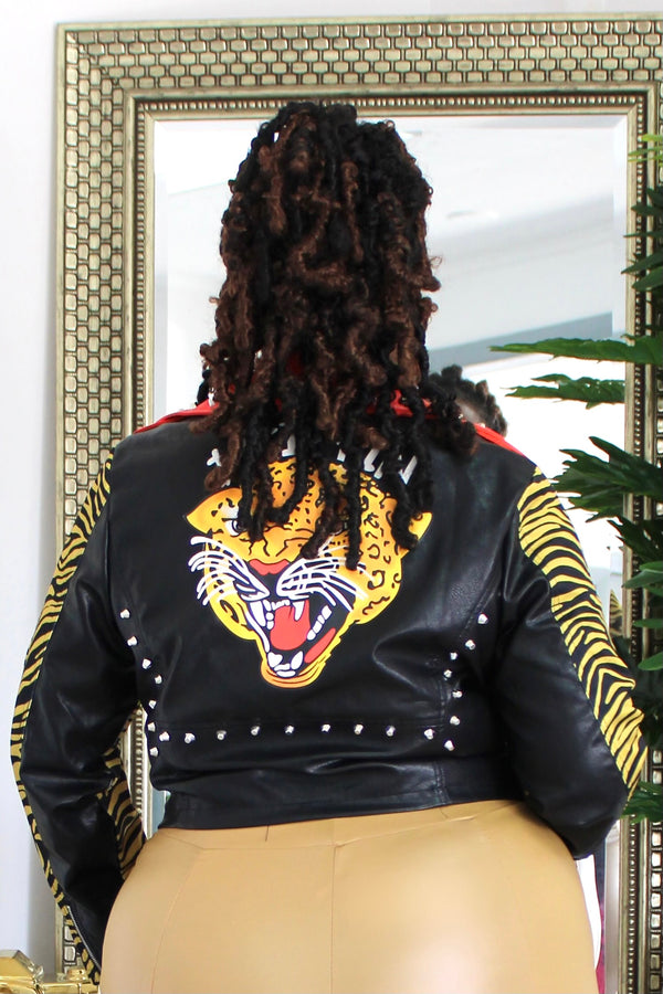Sheena Tiger Print Moto Jacket
