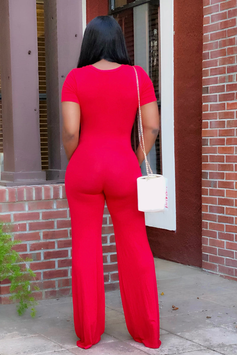Asha Relaxed Wide Leg Weekender Jumpsuit- Red