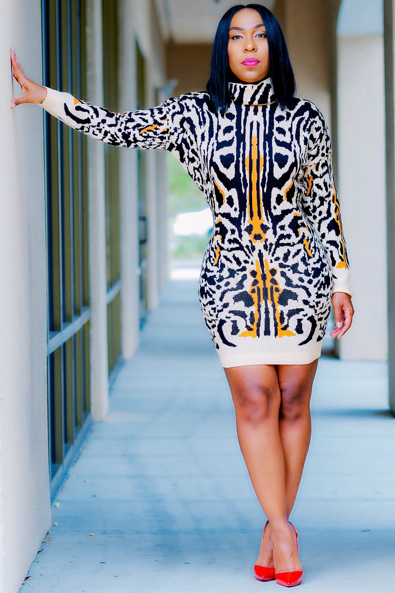 Shonda Tiger Print Mini Sweater Dress