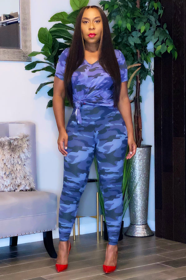 Cashayla Tunic Top and Leggings Set-Blue Camo