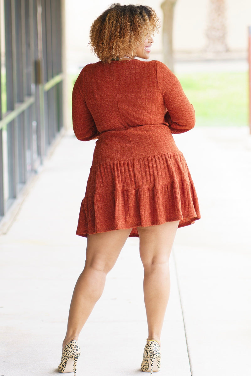 Galana Cute Heathered Knit Mini Dress-Rust