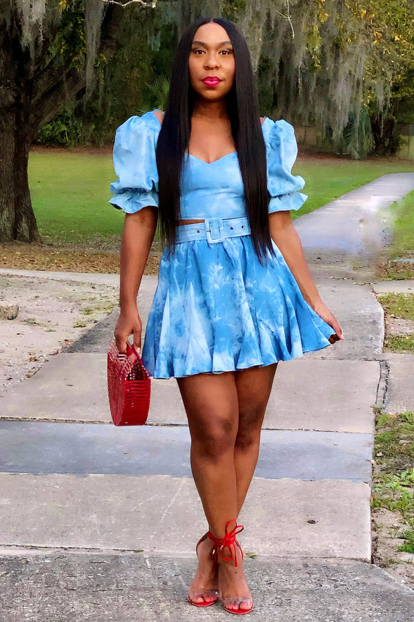 Loreene Cute Chambray Mini Skirt Set- Multi Denim