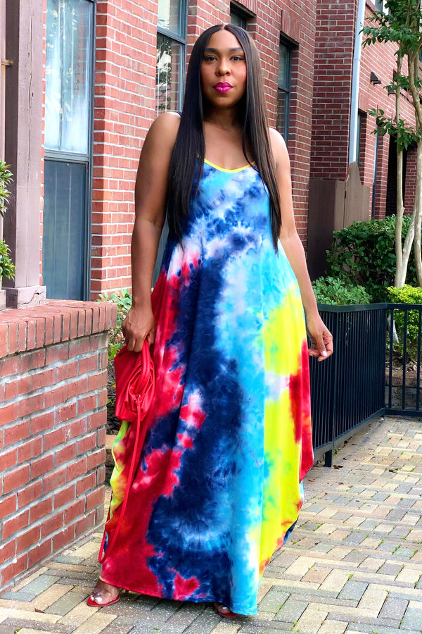 Vanessa Pocketed Maxi Dress-Tie Dye