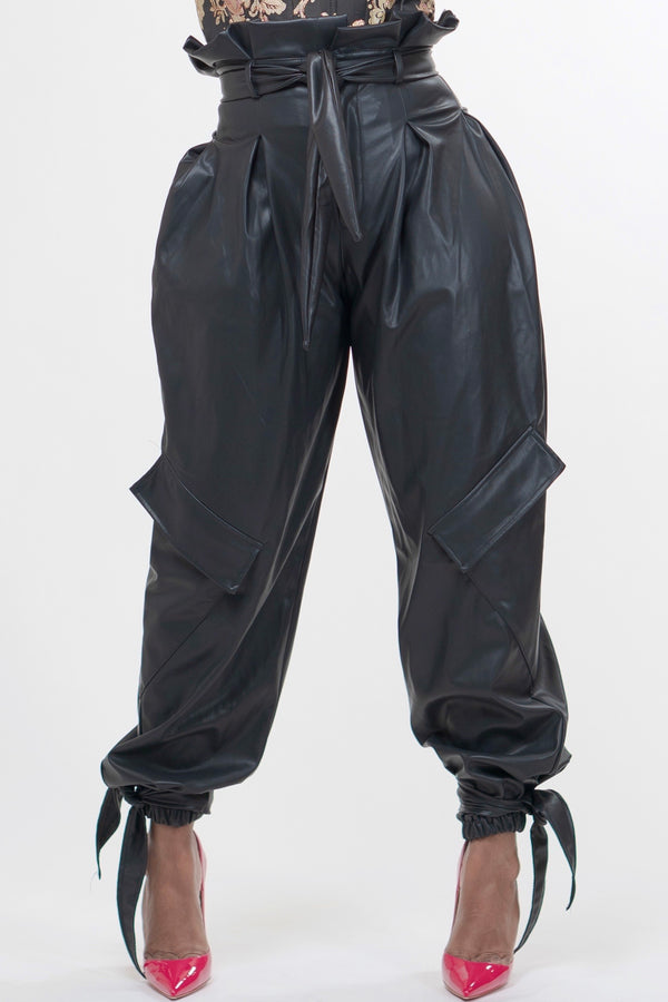 Judith Leatherette Paper Bag Pants - Black