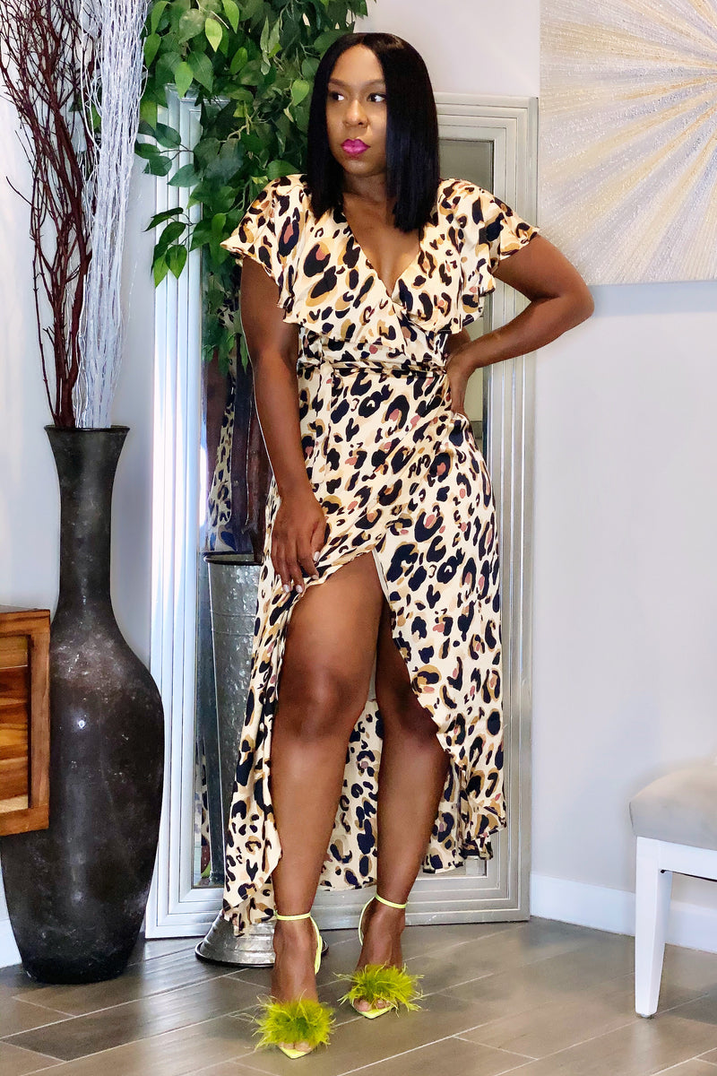 Karen Leopard Full Wrap Midi Dress-Tan