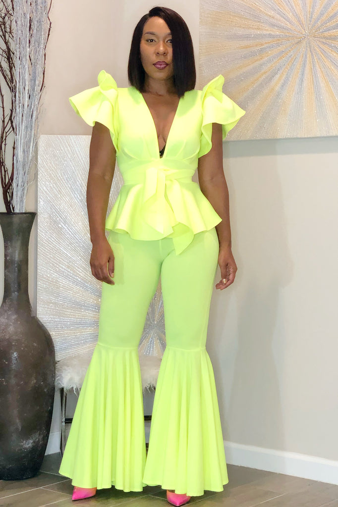 Tiffany Bell Bottom Pants - Neon Yellow