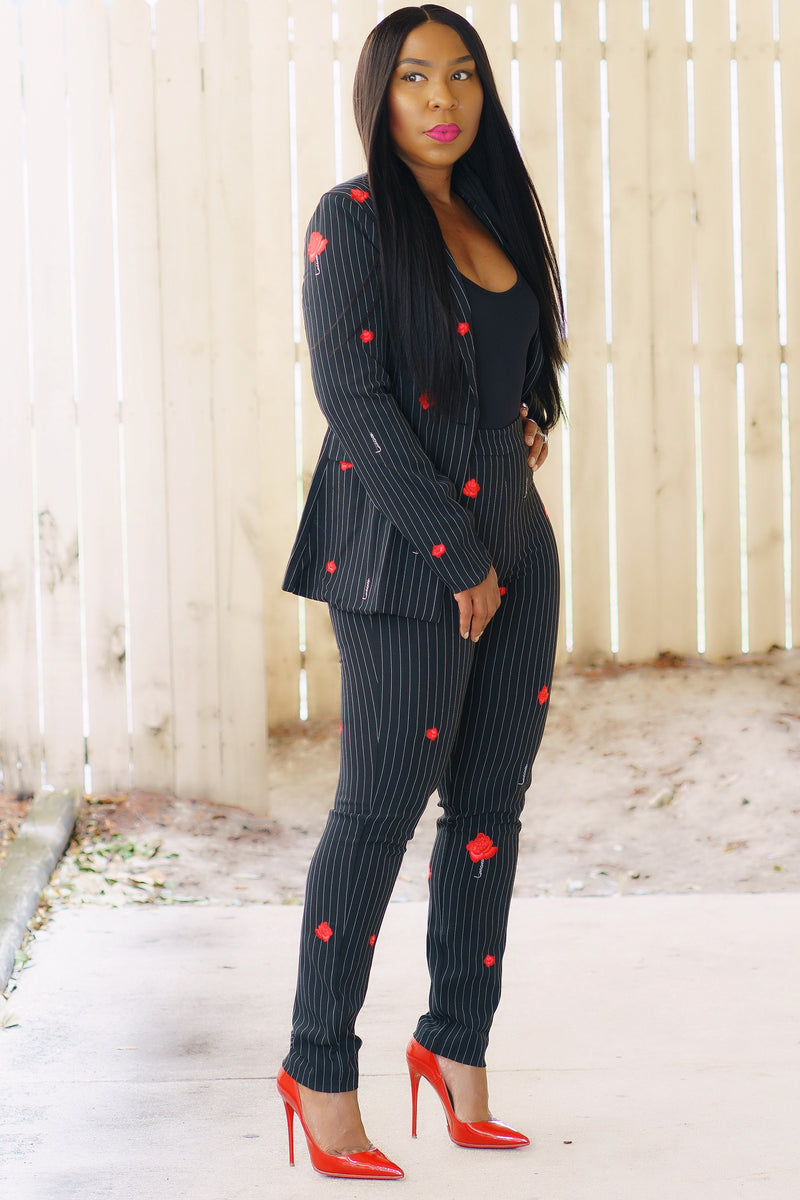 Rose Embroidered Pin Stripe Single Breast Suit
