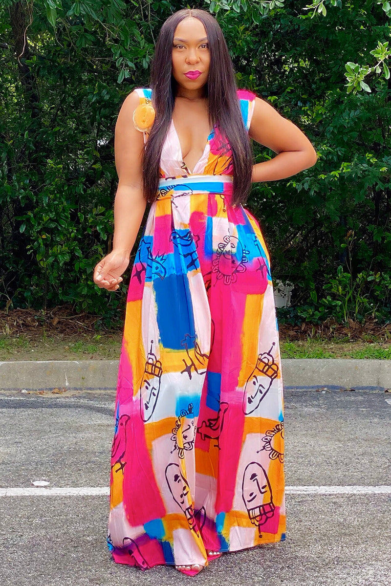 Denise Lux Graffiti Print Maxi Dress Sml-3X