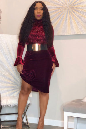 Tamela Velvet Statement Skirt - Burgundy