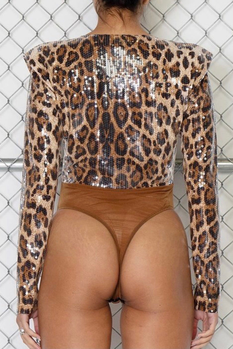 Sheena Puff Shoulder Sequin Leopard Print Bodysuit
