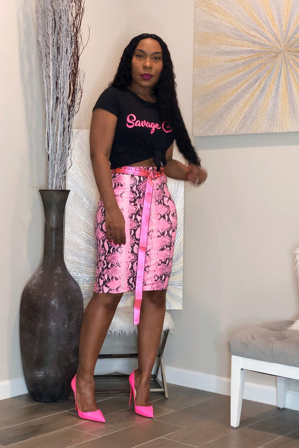 Diamond Textured Python Print Pencil Skirt-Neon Pink