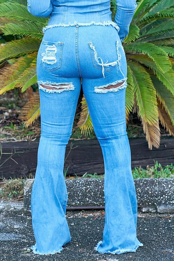 Chalana High Waist Distressed Bellbottom Jeans