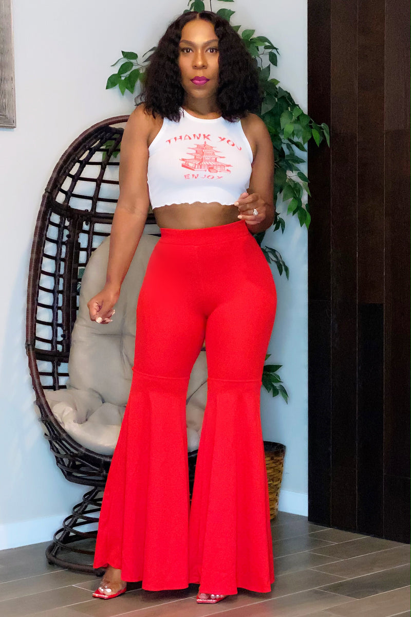 Monica Fitted Flare Leg Pants-Red