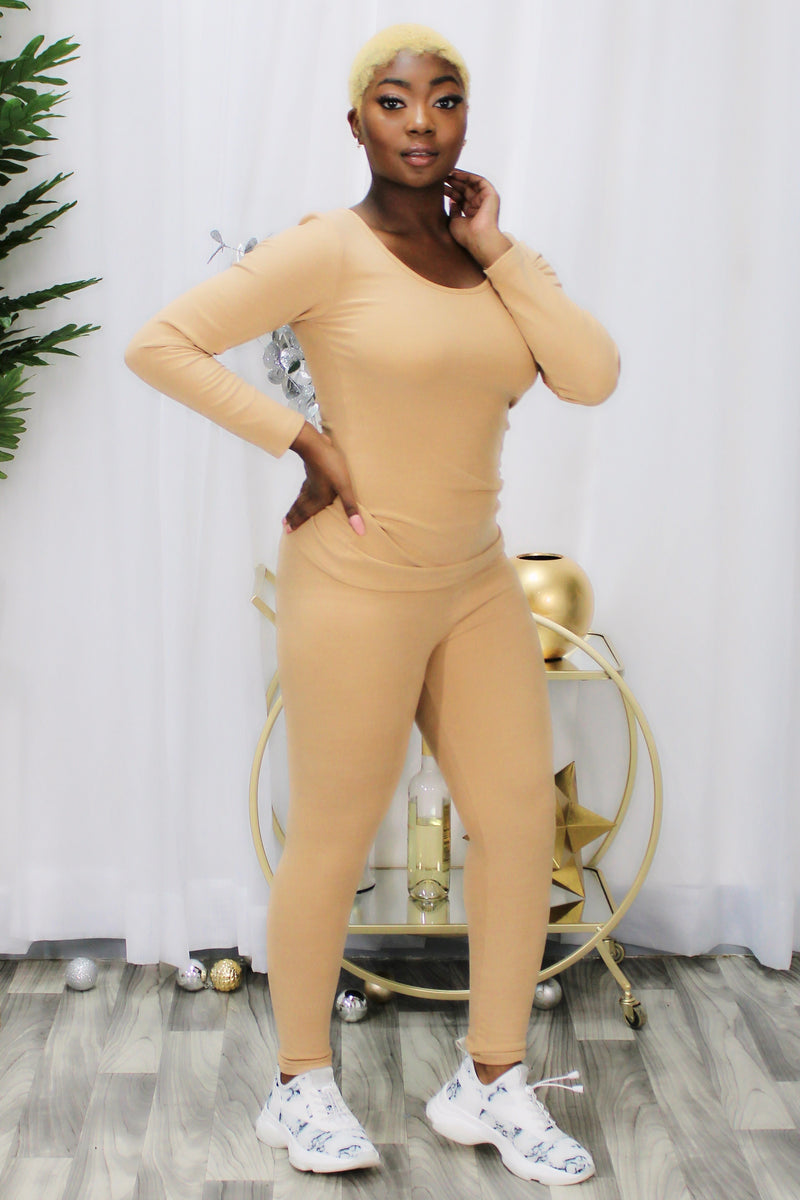 Rhonda Mock Neck Top and Leggings Set-Mustard