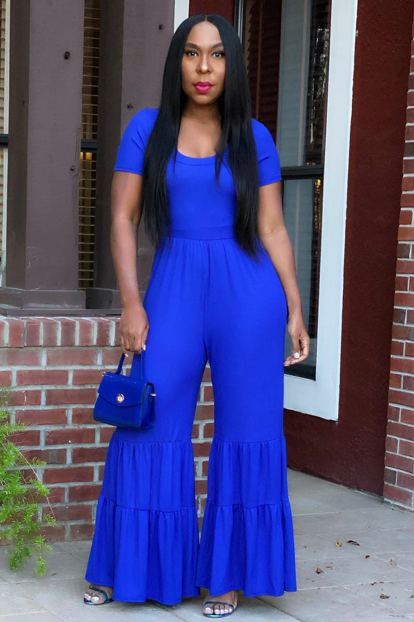 Shenita Wide Leg Jumpsuit- Royal Blue