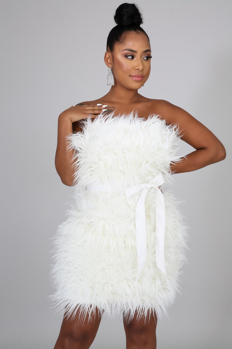 Blanca Faux Fur Couture Mini Dress - White