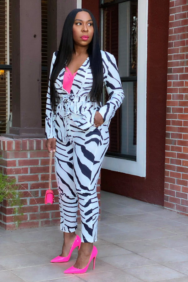 Prive Abstract Zebra Print Power Suit