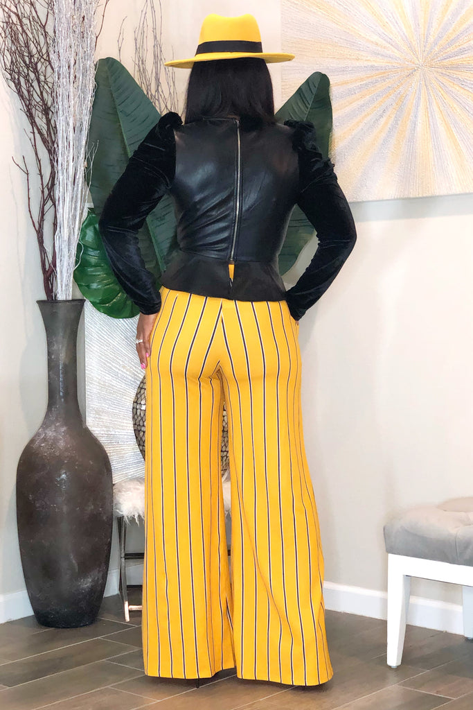 Shahida Wide Leg Pants- Mustard Stripe