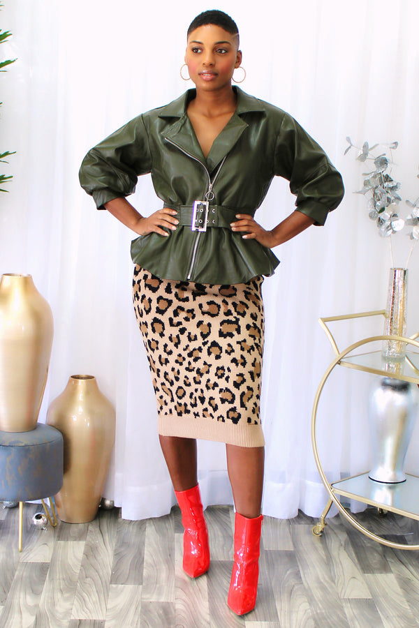 Carinthia Leopard Print Sweater Knit Pencil Skirt