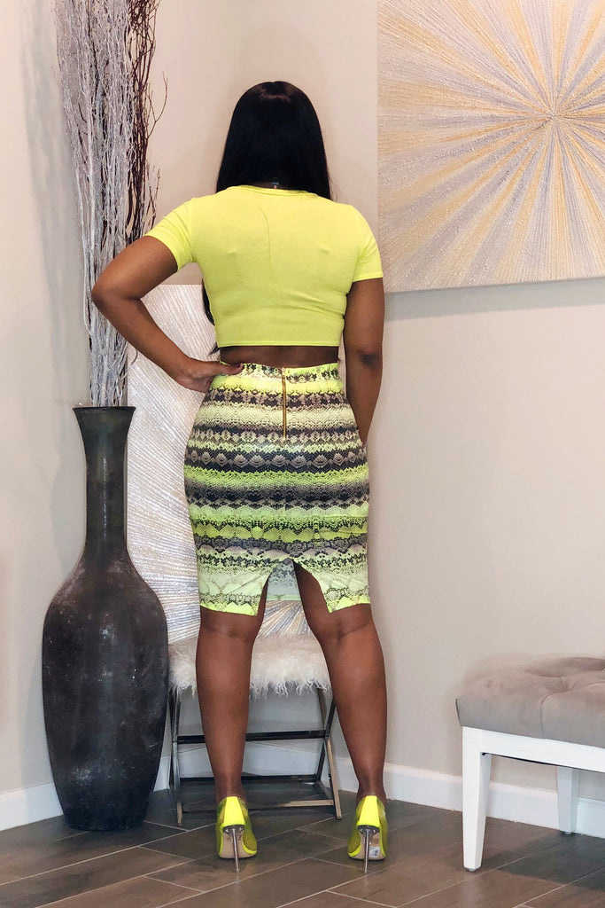 Destiny Textured Snake Print Pencil Skirt-Neon Green