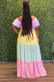 Lovely Color Block Lux Maxi Dress