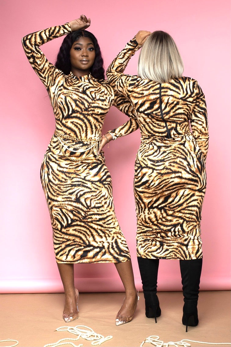 Jennie Multi Tiger Print Midi Dress