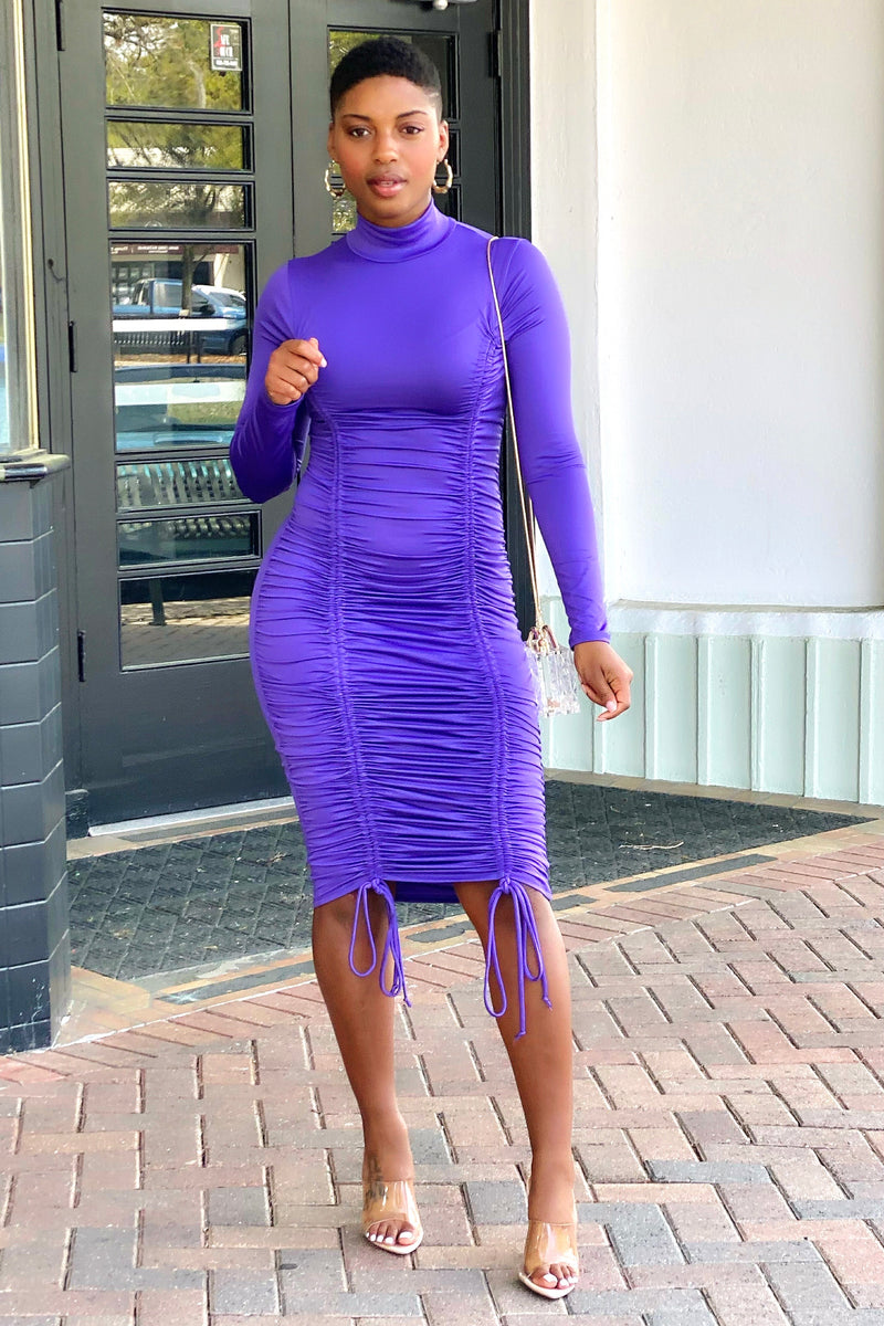 Lena Ruched Bodycon Dress-Ultra Violet