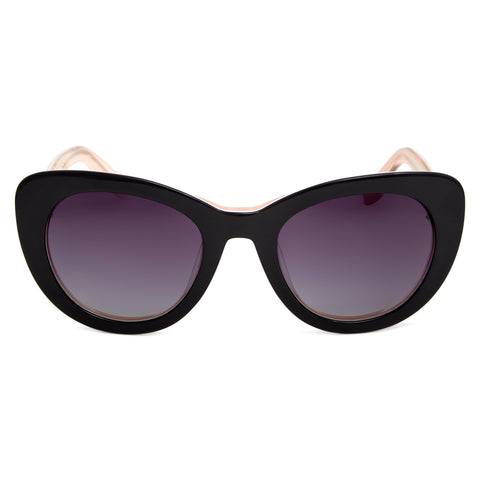 Delta Polarised Retro Cat Eye Frame Womens Sunglasses - Black Grad Smoke Lens