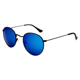 Hudson Polarised Retro Vintage Round Frame  Sunglasses - Black Revo Blue Lens