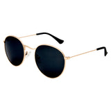 Hudson Polarised Retro Vintage Round Frame  Sunglasses - Shiny Gold Smoke Lens