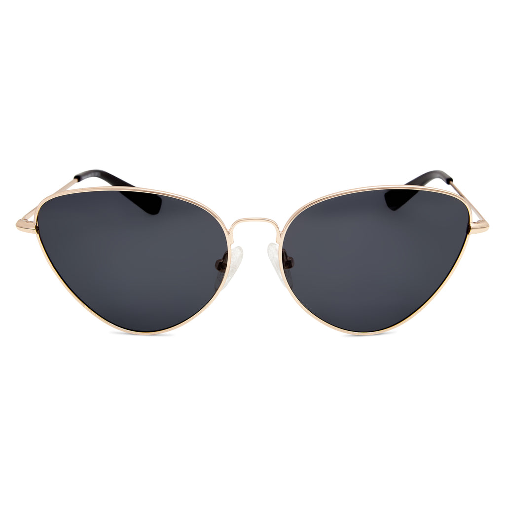 Yangtze Polarised Retro Cat Eye Frame Womens Sunglasses - Shiny Gold