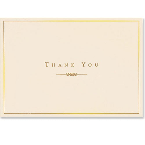 Gold & Cream Thank You Note Card