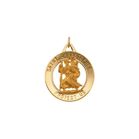 14K Yellow 25mm St. Christopher Medal