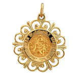 14K Yellow 18.5mm Round Scapular Medal