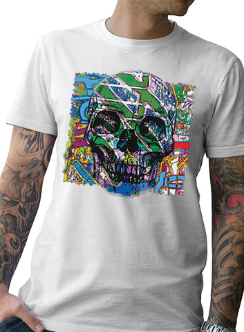 "NEW ""NEON SKULL"" WHITE MEN'S TEE"
