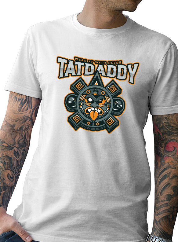 "TATDADDY ""AZTEC TIMES"" WHITE TEE - TatDaddy Clothing Co. tattoo clothing"