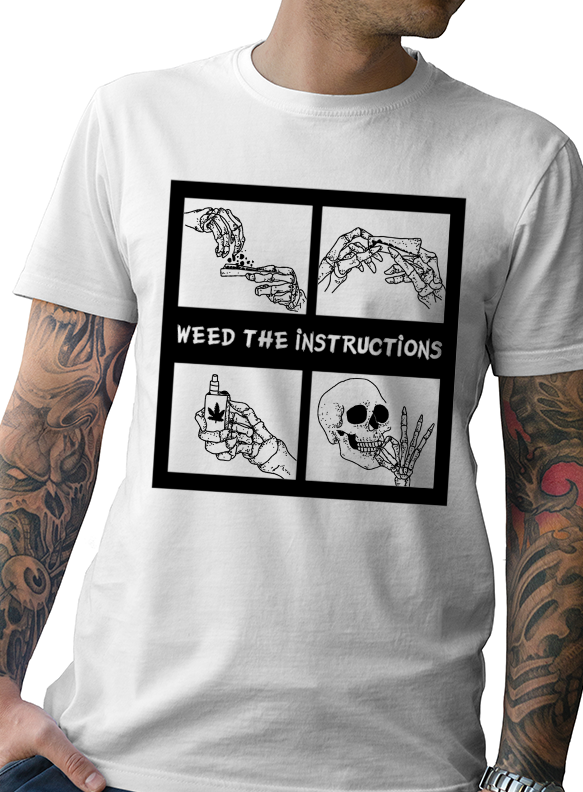 "NEW MEN'S ""WEED THE INSTRUCTIONS""  TEE COLLAB BY  TATDADDY X CHEEFIN - TatDaddy Clothing Co. tattoo clothing"