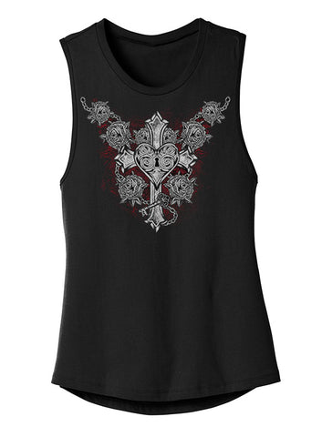 "NEW ""CROSS YOUR HEART"" LADIES TANK - TatDaddy Clothing Co. tattoo clothing"