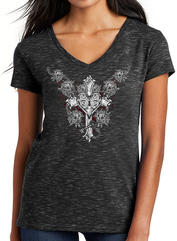 "TATDADDY ""CROSS YOUR HEART"" VNECK - TatDaddy Clothing Co. tattoo clothing"