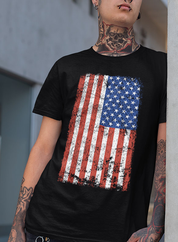 "MEN'S SOFT RINGSPUN COTTON ""AMERICAN FLAG"" TEE - TatDaddy Clothing Co. tattoo clothing"