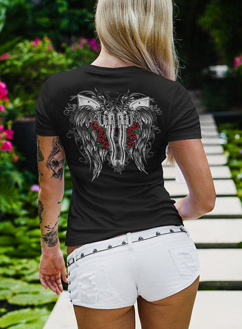 "NEW ""FALLEN ANGEL"" LADIES VNECK TEE - TatDaddy Clothing Co. tattoo clothing"