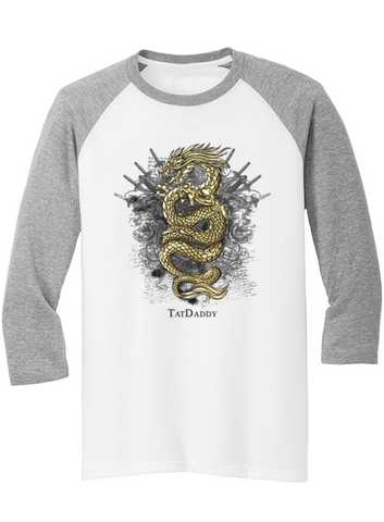 "NEW Tri-Blend ""Golden Dragon"" Raglan - TatDaddy Clothing Co. tattoo clothing"