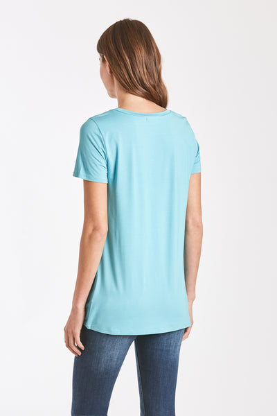 JULIA FRONT KNOT TEE SOFT BLUE