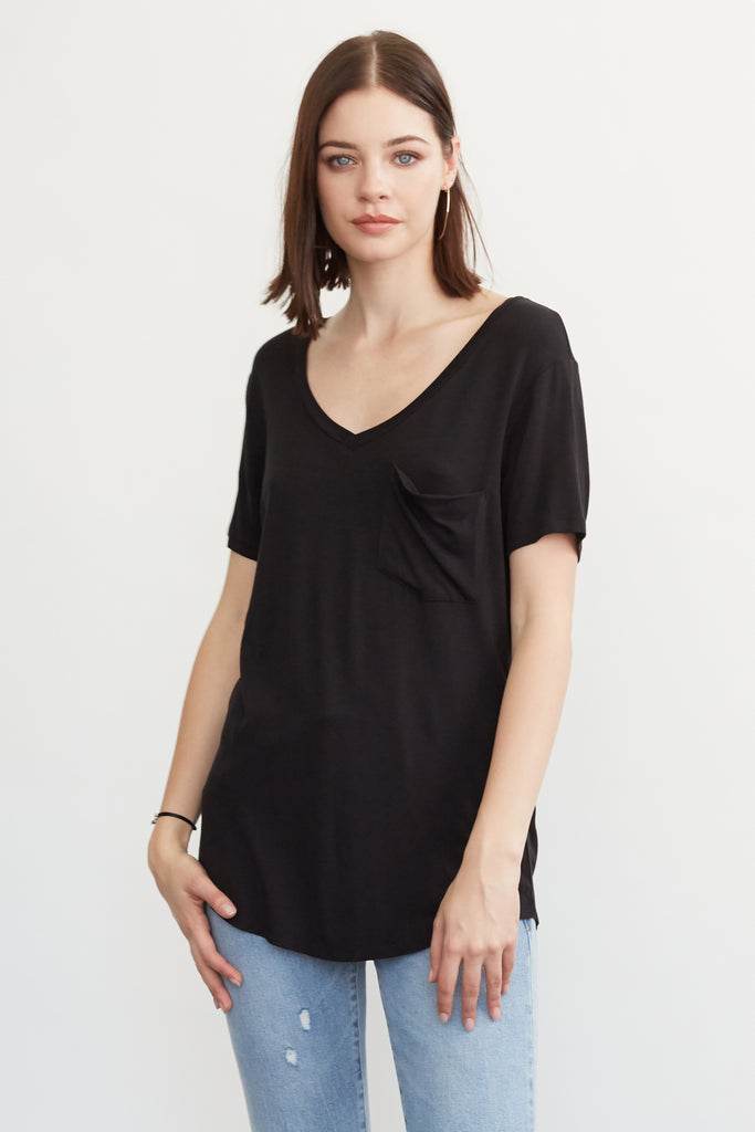 PHOENIX POCKET VNECK TEE BLACK