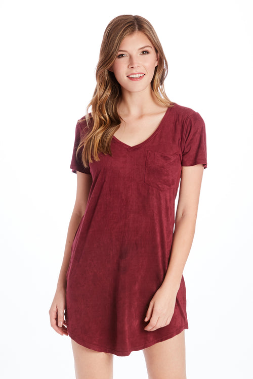 CASSIDY SUEDE TSHIRT DRESS BURGUNDY