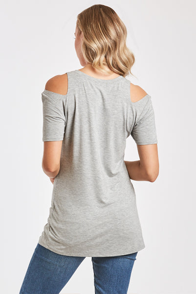 ANIA CUT OUT SHOULDER TEE HEATHER GREY