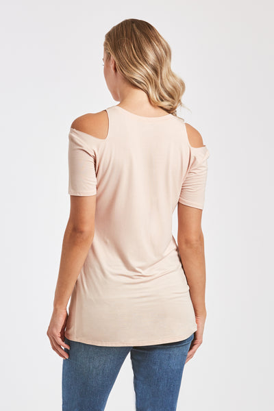 ANIA CUT OUT SHOULDER TEE NUDE