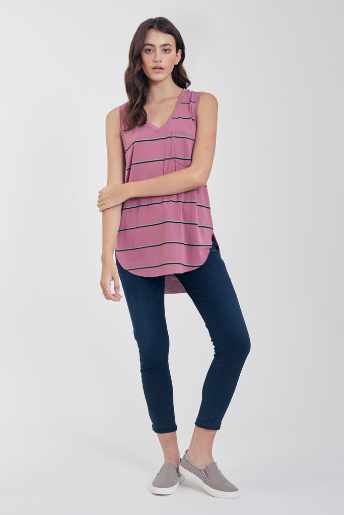 ESTHER STRIPE TANK W/ PKT DUSTY LAVENDER